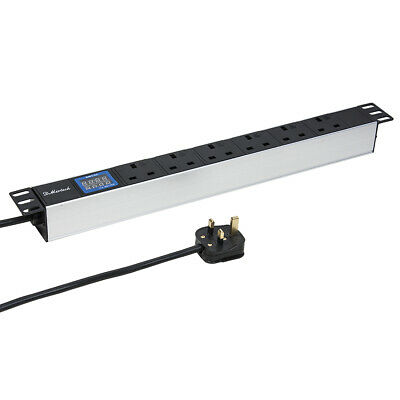 13A UK Plug 1U Rackmount 6 Way Outlet V/A LCD Metter PDU Power Distribution Unit