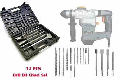 17pc SDS Drill Bits Set Point Flat Centre Chisel Bits with Storage Carry Case