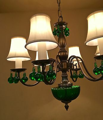 Vintage Lighting green glass 1950s chandelier