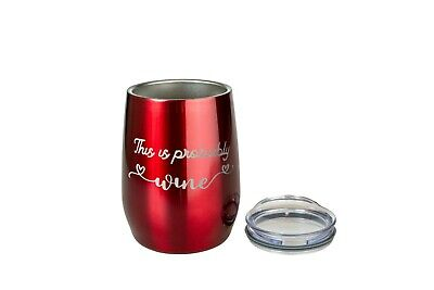 TWO Insulated Wine Tumblers+ Lid Stainless Steel Wine Glass Tumbler + wine blurb