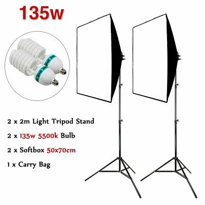 NEW 2X 135W Photography Studio Softbox Continuous Lighting Soft Box Stand Kit UB