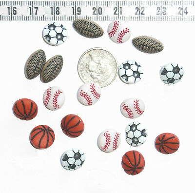 Novelty  Buttons Scrapbook Tiny Sport  Soccer Basketball Football Equipment #63