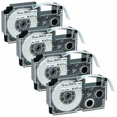 Compatible for Casio XR-12WE Black on White 12mm Label Tape KL100 KL120 NEW 4PK