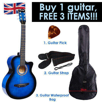 """Blue Acoustic Classic Guitar 3/4 Size 38"""" with 3 FREE items Strap, Picks, Bag UK"""
