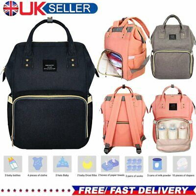 New Multifunctional Baby Diaper Nappy Backpack Waterproof Large Changing Bag UK