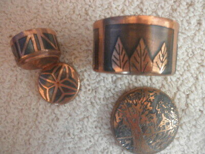 Lot Of 2 Round Hand Made Copper Beautifully Engraved/Decorated Lidded Boxes
