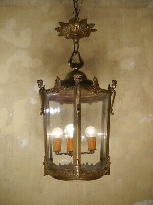 Antique Bronze Hanging Lantern Chandelier Lamp Foyer Brass Used Lustre Old