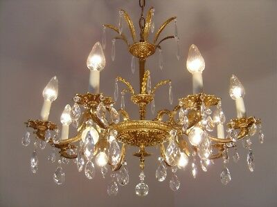 Brass French Crystal Chandelier Vintage Ceiling Lamp 2 Crown 2 Tiers 12 Light