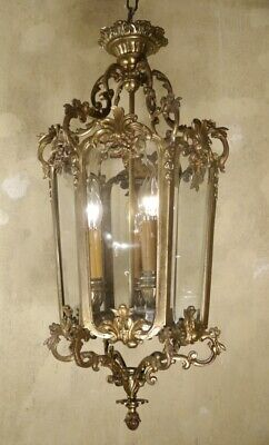 Large Antique Bronze Hanging Lantern Chandelier Lamp Foyer Brass Used Lustre