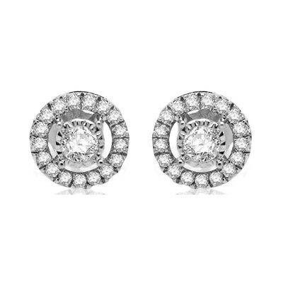 0.33CT Real White Diamond Halo Cluster Ladies Stud Earrings Sterling Silver