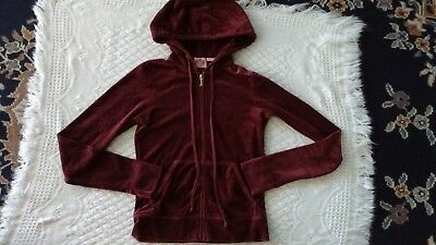Juicy Couture Maroon Velour Full Zip Hooded Jacket Girls/Kids Size Small