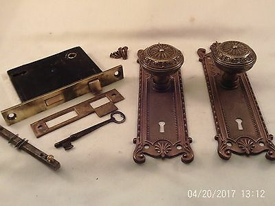 Antique Cast Brass Door Knob Set Mortise Lock Key  3 sets avail. doorz2.co #732