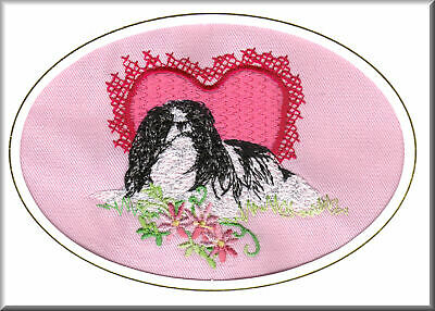 Japanese Chin Birthday Card or Notecard Embroidered by Dogmania