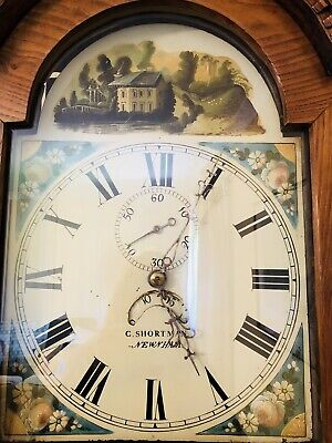 Antique Grandfather Longcase Clock Painted Face