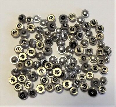 Vintage Lot of 100 NOS Watch Crowns Silver Tone Mixed Sizes Parts Repair