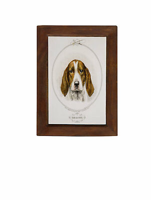"The Hound Antique Print in Solid Mango Wood Frame - 8-1/4"" x 11-3/4"" framed size"
