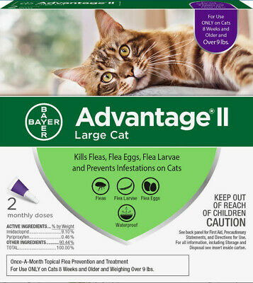 Bayer Advantage II Flea Treatment for Large Cats Over 9 lbs (2 Month ly Doses)