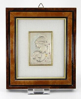 Framed 925 Sterling Silver Tile, Mother and Child, Marchio Preziosi AN-22, Italy