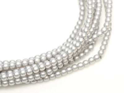 Silver Satin Czech Round Glass Pearl Strands - 2mm,3mm & 4mm Sizes