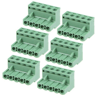 6Pcs AC300V 15A 5.08mm Pitch 5P Flat Angle Needle Seat Insert-In PCB Terminal