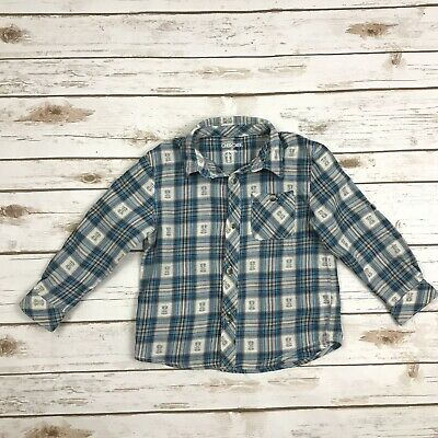 CHEROKEE Boys Size 4T Blue Plaid Tribal Long Sleeved Buttoned Shirt