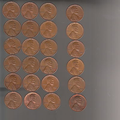 1956D / 1957D / 1958D ~ 3  LINCOLN CENT ROLLS  /  all  VERY FINE  to  ABOUT UNC