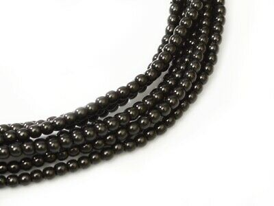 Black Czech Round Glass Pearl Strands - 2mm,3mm,4mm & 6mm Sizes