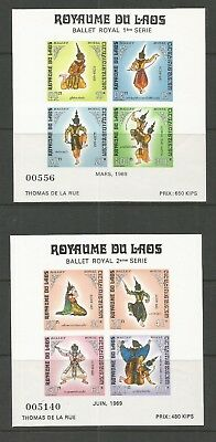 LAOS 1969 - Ballet Royal - 2 M/Sheets MS266** MNH.