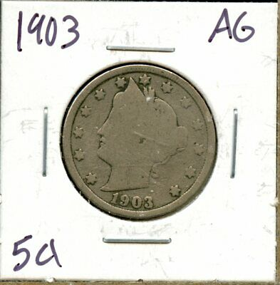1903 United States Liberty Head V-Nickel 5c Coin JA691