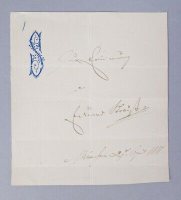 Estate Found Signed Embossed Note Austrian Composer Eduard Strauss Autograph