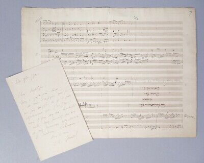 Estate ALS Signed Letter Composer Charles-François Gounod w Orig Sheet Music
