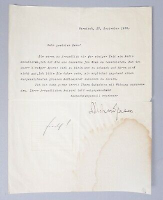 Estate Found Autographed German Composer Richard Strauss TLS Signed Letter 1929