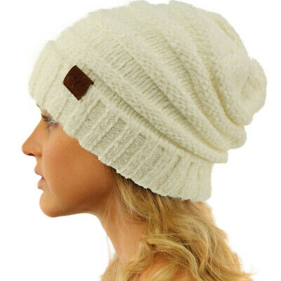 CC Winter Trendy Warm Oversized Baggy Stretchy Slouchy Beanie Hat Chenille Ivory