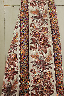 Antique French fabric madder brown c1880 ~ LOVELY printed cotton material floral
