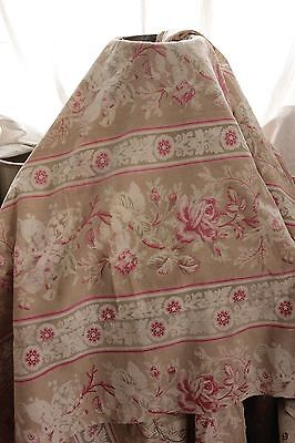Antique French Fabric Printed cotton floral & stripe material c 1870 faded pink