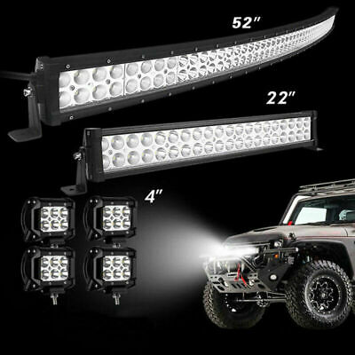 52Inch 2720W LED Light Bar Combo + 22 +4 CREE PODS OFFROAD SUV 4WD Ford 50 20