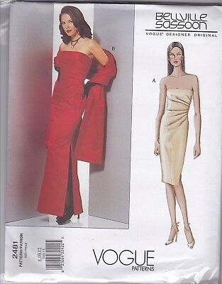 Vogue 2481 8-12 Sewing Pattern Pleated Side Dress & Gown with Stole Wrap