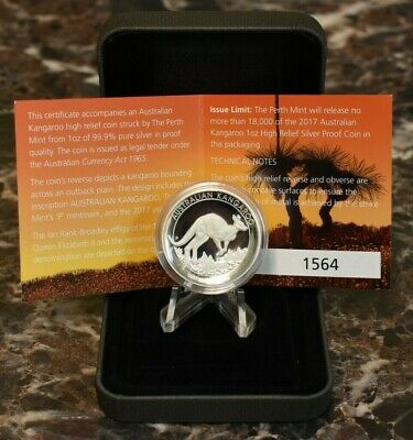 2017 Australia Kangaroo High Relief Silver Proof $1 Coin w/ Mint Packaging WOW!