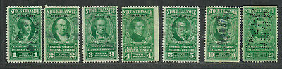 * US Sc#RD104-RD110 Used, Partial Set, Stock Transfer Revenues 1941