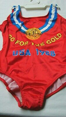 Nos Vintage Usa Olympic Diving Swimming Team Girls Size 8 Swimsuit