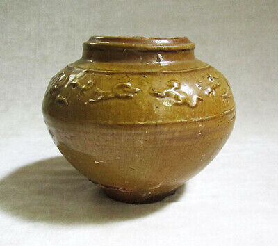 ANCIENT CHINESE OCHRE GLAZED POTTERY JAR, Han Dynasty (206 B.C. – A.D. 220)