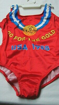 Nos Vintage Usa Olympic Diving Swimming Team Girls Size 7 Swimsuit