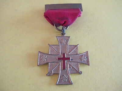 Red Crucifix Latin Cross Medal Order and Ribbon Badge  Maker: G W Sweet Melb
