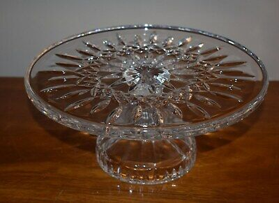 Best! Beautiful Lg. Waterford Cut Crystal Footed Cake Plate - Lismore - 11""