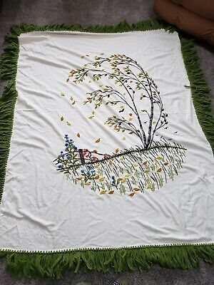 1970's Crewel Needlework Fall Birch Tree Coverlet Throw Tablecloth 80x64 Fringe