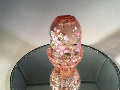 Fenton Art Glass Vintage 1980's Hand Painted Pink 2 Pc Fairy Light / Lamp