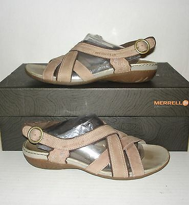 f8aa7ae22f80 MERRELL Women s BASSOON Mauve Leather Slingback Strappy Sandals Size 7 US    38