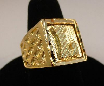 SIZE 9  MENS 14KT GOLD EP  JEWISH STAR BLING NUGGET STYLE RING