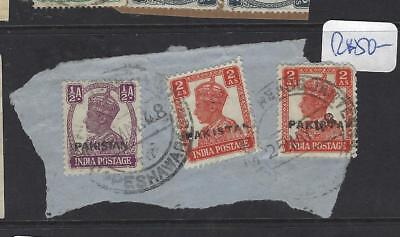 Pakistan (Pp2302B) Local Handstamp  Kgvi On India 1/2A+2A X2 On  Piece    Vfu