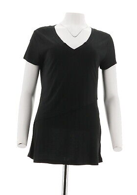 Lisa Rinna Collection Short Slv Front Layered Knit Top Solid Black M # A263130
